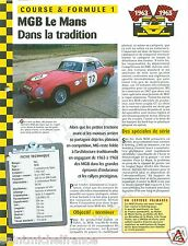 MG MGB Coupé Hard Top 4 Cyl. 24 H Mans 1963 United Kingdom Car Auto FICHE FRANCE