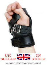 Real Black Leather Suspension Hand Wrist Cuffs with Locking Buckles (CUFF3)