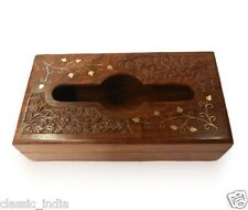 "Wooden Hand Carved Brass Inlaid Napkin Box ✿10x6"" Paper Tissue Holder Handicraft"