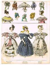 """""""Modes de Paris"""" - """"ROBE DE SATIN BROCHE"""" - Hand Colored Eng. - 1852"""
