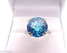 FINE SWISS BLUE TOPAZ 5.32 CTS ROUND SOLITARE 14K WHITE and YELLOW GOLD RING