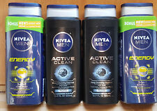 4 Nivea For Men Body Wash 3-in-1 Energy & Active Clean . Free shipping