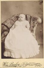 CABINET CARD PORTRAIT OF CHUBBY BABY IN LONG WHITE DRESS IN CHAIR - COLUMBIA, PA