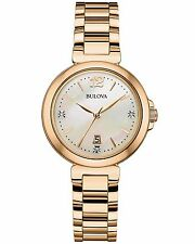 Bulova Women's 97P110 Diamond Hour Markers Quartz Yellow Gold Dress Watch