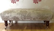 A Quality Long Footstool / Stool In Laura Ashley Peony French Grey Fabric