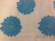 Designer Upholstery Chenille Fabric Blue Floral By The Metre