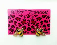 E816 Betsey Johnson Mini Queen Yellow Gem Crystal Bumble Bee Stud Earrings US