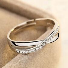 Femmes 18K Plaqué Or blanc bague anneau en strass cristal Bague de fiançailles