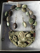 Natural Hand Carved Ribbon Jasper Fairy Necklace Set with  Swarovski Crystals