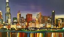 Chicago skyline painting, sighned, streched  canvas, ready to hang art.