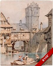MIDIEVAL LAUNDRY WOMEN IN NUREMBERG GERMANY PAINTING ART REAL CANVAS PRINT
