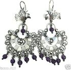 FRIDA KAHLO DESIGN TAXCO MEXICAN STERLING SILVER BIRD AMETHYST EARRINGS MEXICO