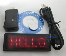 New RED LED Programmable Scrolling Moving Name Badge Tag Message with converter
