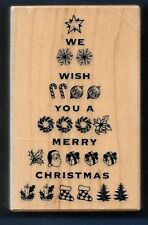 WE WISH YOU A MERRY CHRISTMAS TREE Words PSX G-3511 2003 Santa Rosa Rubber Stamp