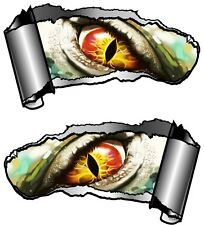 Small Pair Ripped Open Metal Rip GASH Evil Eye Monster Vinyl Car Sticker decal