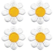 "1"" Spring White Yellow Daisy Flower embroidery patch Lot of 4"
