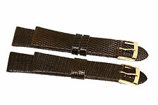 2 PIECES 18MM BROWN GENUINE LIZARD HIGH QUALITY LEATHER WATCH BAND STRAP
