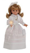 Muñeca de comunión vestido blanco y rebeca  habladora con vela. Caja coleccion