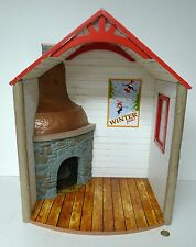 RETIRED AMERICAN GIRL WINTER CHALET CABIN Light Up fireplace Doll House for 18""