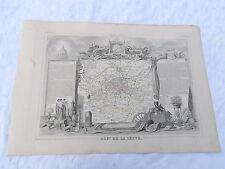 Ancienne Carte géographique Dépt de la Seine ( PARIS )  Levasseur  vers 1850