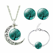 Turquoise Tree of Life Jewellery Set Stud Earrings Moon Necklace Bracelet S894