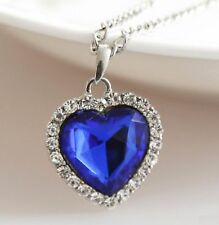 "Titanic Heart Of Ocean Pendant & 20-22"" chain necklace Silver Colour Deep Blue"