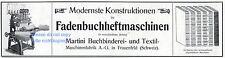 Maschinenfabrik Martini Frauenfeld Schweiz Reklame von 1909 Buchbinderei Werbung