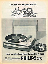 PUBLICITE ADVERTISING 124  1962  PHILIPS  éléctrohone tourne-disque  à piles