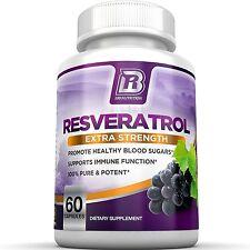 BRI Nutrition Resveratrol - 1200mg Maximum Strength Supplement - 30 Day Supply -