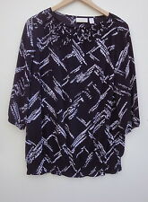 Chico's Black/White 3/4 Sleeve Woman Top Blouse Size-1-(made in India)