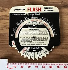 Vintage Plastic JOHNSON Flash Exposure Calculator Card with Dial