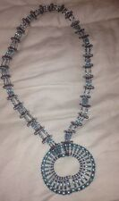 Chunky Art Deco Necklace Colorful Turquoise & Brown Beads Cute Little Safety Pin