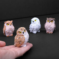 Miniature Set of 4 Baby Owls Figurine For Home Collectible Statues Decor Gift