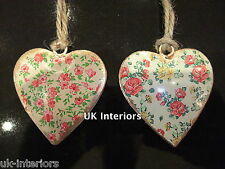 Pair (2x) Vintage Floral Ditsy Flower Hanging Heart Metal Shabby Chic Decoration