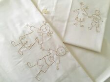 Beautiful Kids Bed Set Linen Wiith Happy Embroidery 100%Cotton Ecru 160X270cm