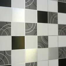 Debona Dotty Wallpaper quailty For Kitchen Bathroom Black Silver Tile Blown
