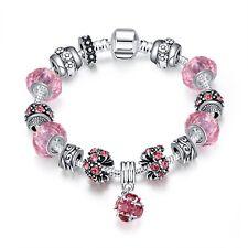 T::A Damen Bettel Armband Beads Charms rosa Herz pl. mit Sterlingsilber Anhänger