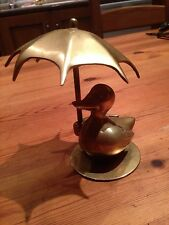 Vintage brass duck with an umbrella.  Animal figurine.  Just for fun.