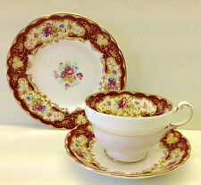 "Paragon ""Pompadour"" Red Pattern Tea Cup Trio"