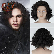 Mens Short Black Curly Anime Wig Game of Thrones Cosplay Hair Costume Wig