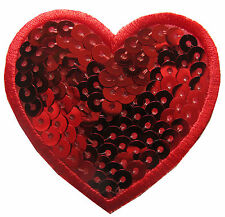 "#4551 2-1/4"" Sequins Red Heart Embroidery Iron On Applique Patch"