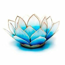 Blue & White with Gold Rim Lotus Flower 5th Chakra Shell Candle Holder & Candle