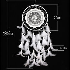 Handmade Dream Catcher with Feathers Car Wall Hanging Decoration Ornament White