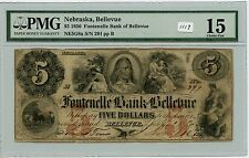 Obsolete $5 Bellevue, Ne (#1119) Pmg F15. Carefully Check out the Photos.