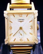 NICE ALL ORIGINAL FANCY VINTAGE 1953 LONGINES MANUAL WIND WATCH SERVICE 9LT RUN