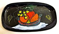 ITALY Italian Hand Painted Decorative Wall Hang Black Plate /Tray Fruit Painting