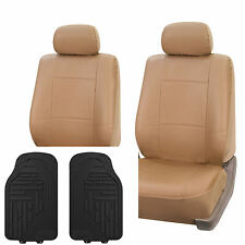PU Leather Seat Covers Set Front For Auto Free Floor Mat Tan