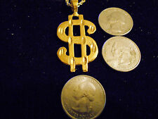 bling gold plated casino dollar sign charm rope chain hip hop necklace jewelry