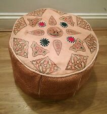 Moroccan Genuine 100% Leather Pouffe Footstool New Handmade Poufe Pouf  Large
