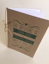 Order Of Service, Wedding Stationery, Brown Kraft Card, Shabby Chic A5 x10